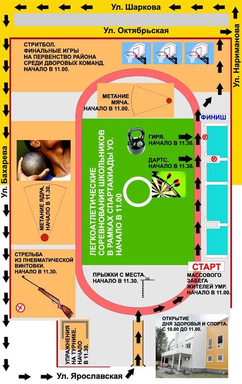 Схема размещения спортивных площадок в рамках проведения Дня здоровья и спорта.